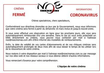 Information Coronavirus - Cinéma fermé